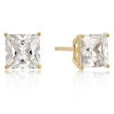 Isady – Miranda Gold – Damen Ohrringe – Ohrstecker – 7 mm – Sterling-Silber 925 und 585 Gelbgold platiert – Zirkonia Transparent