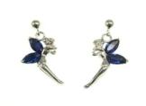"""Kala-isbijoux- Damen- ,Ohrringe"""" Fee Glöckchen """" ( Höhe 2 cm ) 925 Silber Rhodié mit Zirkonia Blau Saphir Farbe"""
