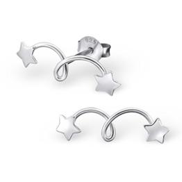 Katy Craig Ohrstecker/Ohrringe, klein, Sterling-Silber 925 Motiv doppelter/springender Stern, 1Paar