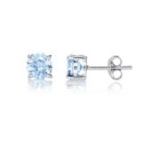 Klassische Damen Ohrstecker SterlingSilber 925 rhodiniert Ohrringe Blau Topaz Stein 6mm Geburtsstein Dezember