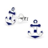 Laimons Damen-Ohrstecker Anker weiß blau Sterling Silber 925