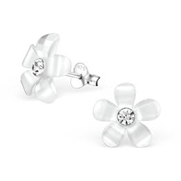 Laimons Damen-Ohrstecker Damen-Schmuck Blume Blüte in hell weiß mit Glitzer aus Sterling Silber 925