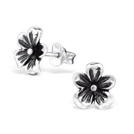 Laimons Damen-Ohrstecker Damenschmuck Blume Orchidee oxidiert Sterling Silber 925