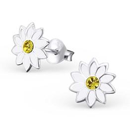 Laimons Damen-Ohrstecker Edelweiß Blume weiß mit glitzer gelb Sterling Silber 925