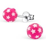 Laimons Damen-Ohrstecker Kugel Ball mit Sternen pink Sterling Silber 925