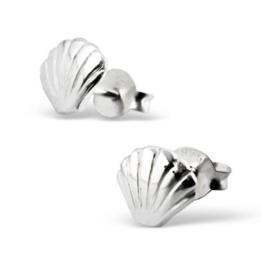 Laimons Damen-Ohrstecker Muschel matt glanz aus Sterling Silber 925