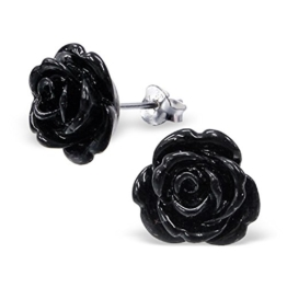 Laimons Damen-Ohrstecker Rose Blume schwarz Sterling Silber 925