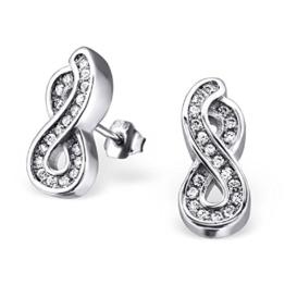 Laimons Damen-Ohrstecker Unendlichkeit Symbol mit Zirkonia Sterling Silber 925