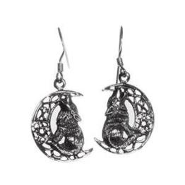 Lisa Parker Ohrringe Heulender Wolf mit Mond Sterling-Silber-925, in schwarzem Samtbeutel von Lisa Parker, passende Halskette ebenfalls erhältlich