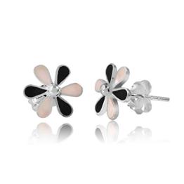 MATERIA 925 Silber Ohrstecker Perlmutt Blume weiß schwarz – Perlmutt Ohrringe Blüte Ø10mm inkl. Schmuck Schachtel #SO-162