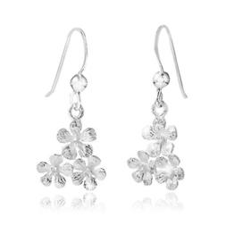 MATERIA Schmuck 925 Silber Ohrhänger Blumen – Silber Ohrringe Ohrschmuck mit 3 Kirschblüten inkl. Schmuckbox #SO-147