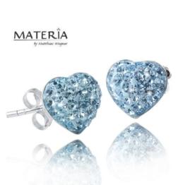 MATERIA Schmuck Kristall Ohrstecker Herzen hellblau – 925 Silber Damen Ohrringe Stecker Herz Form 10x10mm mit Strass türkis blau inkl. Schmuck Box #SO-149-blau