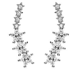 MYA art Ohstecker Ohrringe Ear Cuff Pins 925 Sterling Silber Blumen Sterne mit Zirkonia MYASIOHR-29