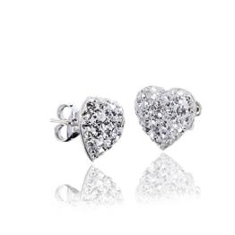 Materia Kristall Ohrstecker Herz weiß – 925 Silber Ohrringe Damen Herz Form 9x9mm mit weißen Kristallsteinen inkl. Box #SO-98