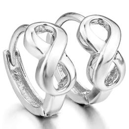 MunkiMix 925 Sterling Silber Gestüt Stecker Creolen Huggie Ohrringe Ohrstecker Ohrhänger Infinity Unendlichkeit Zeichen Symbol Einzigartig Polished