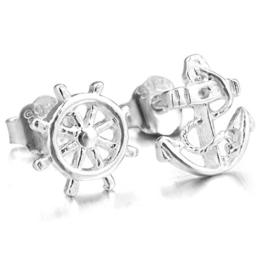 MunkiMix 925 Sterling Silber Gestüt Stecker Ohrringe Ohrstecker Ohrhänger Anker Segeln Nautisch Ruder Rad Einzigartig Polished