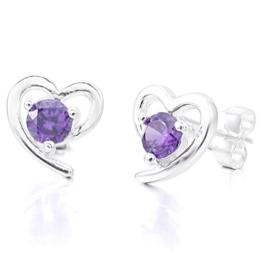 MunkiMix 925 Sterling Silber Glas Ohrringe Ohrstecker Ohrhänger Silber Lila Purple Herz Klassiker Elegant