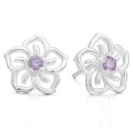 MunkiMix 925 Sterling Silber Ohrringe Ohrstecker Ohrhänger CZ Zirkon Zirkonia Silber Lila Purple Blume Klassiker Elegant