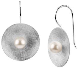 Nenalina Silber Damen-Ohrringe Ohrhänger mit 6 mm Muschelkern-Perle und gebürsteter Oberfläche , 722164-346