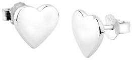 Nenalina Silber Damen-Ohrringe Ohrstecker Herz Motiv mit glänzenden Oberflächen, 324406-090