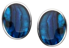 Nenalina Silber Damen-Ohrringe Ohrstecker mit blauer Paua-Muschel in 925 Sterling Silber – 226092-004