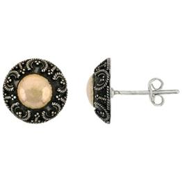 Ohrstecker Blume Sterling-Silber 925 oxidiert Ohrringe, 18 kt Gold-Akzente
