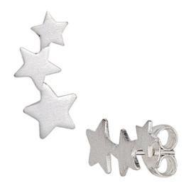Ohrstecker Ohrringe 3 Sterne drei Sternchen 925 Silber matt Ohrschmuck Damen