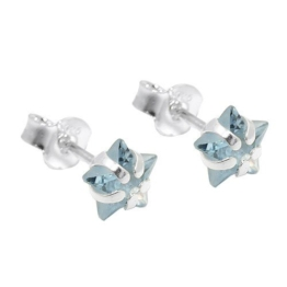 Ohrstecker Ohrringe Ohrschmuck Stern aus Aquamarin hellblau 925 Silber