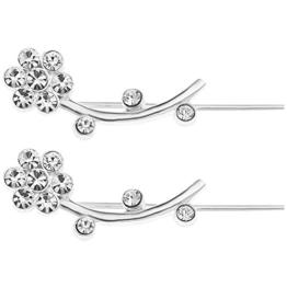 Ornami Ohrring Sterling-Silber 925, Zirkonia, Blumen-Design, lang, Ohrring