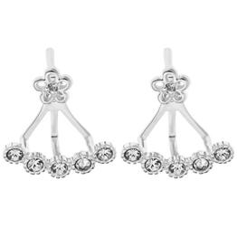 Ornami Ohrringe Sterling-Silber und Zirkonia Blumen und Steine Ohrringe