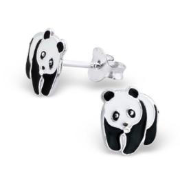 Paar Klein Schwarz und Weiß Panda Bär Sterling Silber Ohrstecker