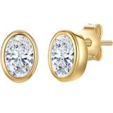 Rafaela Donata Damen-Ohrstecker Sterling Silber gelbvergoldet Zirkonia weiß – Ohrstecker oval Ohrringe Gelbgold Silberohrstecker 925