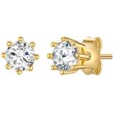 Rafaela Donata Damen-Ohrstecker Sterling Silber gelbvergoldet Zirkonia weiß – Ohrstecker rund Ohrringe Gelbgold Silberohrstecker 925