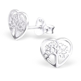 SILV Lebensbaum Ohrstecker Herz Form – 925 Silber Ohrringe Baum des Lebens 7x7mm #SV-132