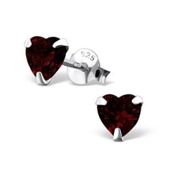 SILV Zirkonia Ohrstecker Herz 6x6mm – 925 Silber Ohrringe Herz Stecker mit Zirkonia in weiß, rosa, rot oder lila #SV-160