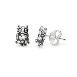 SLJ–925Sterling Silber Eule Form Ohrstecker feine Ohrringe Anti trüben