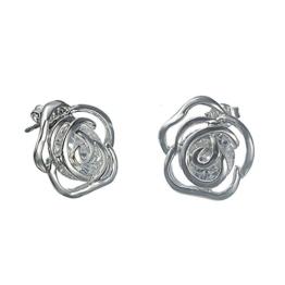 Schöne Frauen Rosa Blume Bling Jewelry Damen-Ohrstecker Glaskristall