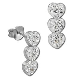 SilberDream Glitzer Ohrstecker drei Herzen 925 Sterling Silber mit Tschechischen Preciosa Kristallen weiß Ohrringe für Damen GSO606W