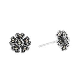 Silverly Frauen 925 Sterling Silber Markasit Simulierte Oxidised Blume geformt Ohrstecker