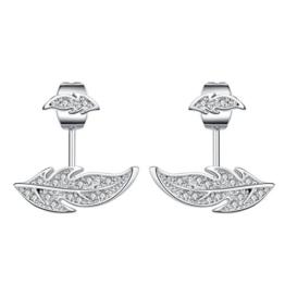 Sterling Silber Ohrstecker Blatt-Feder Mini pflastern Kristall Nadel Ohr-Bolzen-Ohrring-Ohr-Jacke für Damen