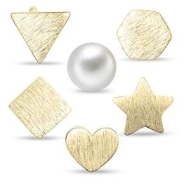 Sweetiee Damen Mathematik Ohrstecker Stes Rund Perlen Dreieck Stern Herz Quadrat Sechseck Damen Ohrschmuck