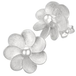 Vinani Damen-Ohrstecker Blume gebürstet Blütenstempel glänzend Sterling Silber 925 Ohrringe OBDD
