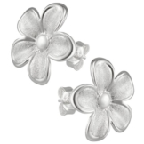 Vinani Damen-Ohrstecker Blume gebürstet Rand glänzend Sterling Silber 925 Ohrringe Blüte OBTA