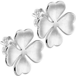 Vinani Damen-Ohrstecker Kleeblatt mattiert Sterling Silber 925 Ohrringe Blume OKL