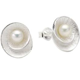 Vinani Damen-Ohrstecker Muschel mit Perle Sterling Silber 925 Ohrringe OMW