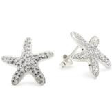 Vinani Damen-Ohrstecker Seestern Kristall weiß Sterling Silber 925 Ohrringe OSX