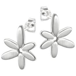 Vinani Ohrstecker Blume mattiert schlicht Sterling Silber 925 Blüte Ohrringe OCA