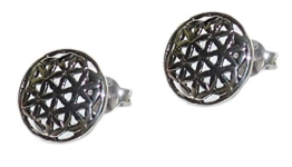 budawi® – Ohrstecker Blume des Lebens Ø 11 mm (grob), 925er Sterling Silber, Lebensblume, Silber Ohrringe