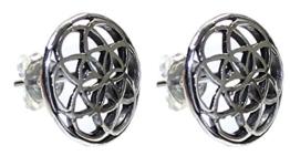 budawi® – Ohrstecker Lebensblume Ø 12 mm, 925er Sterling Silber, Blume des Lebens, Silber Ohrringe