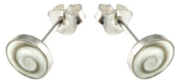 budawi® – Ohrstecker Paar Silber mit Shivasauge, rund Ø ca. 8 mm, Ohrringe aus Muschel, Shivas Auge